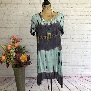 Boutique Boho Tie Dye Asymmetrical Hem Dress